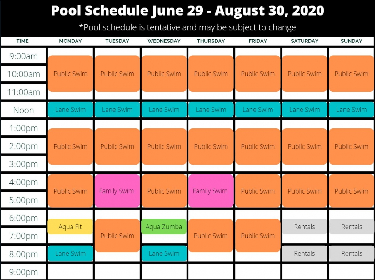 Adjusted pool schedule 2020
