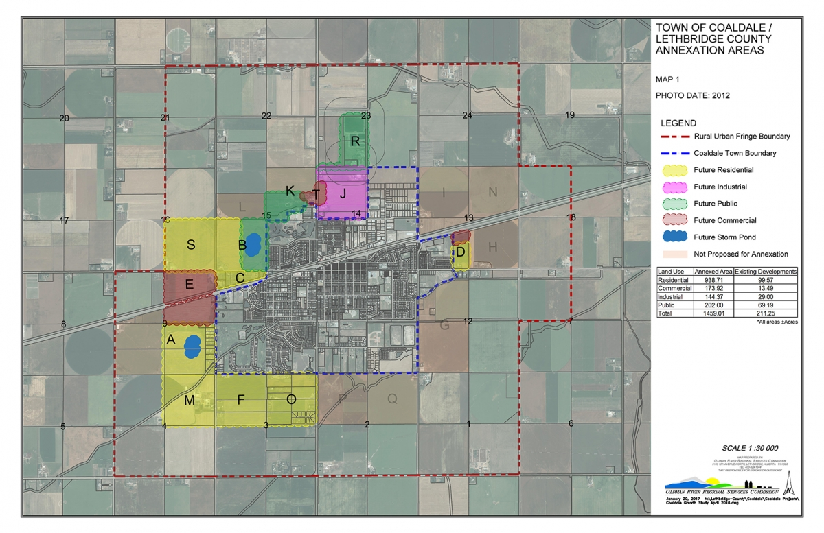 Town of Coaldale Annexation map