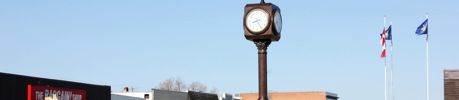 Clock and main street of Coaldale.