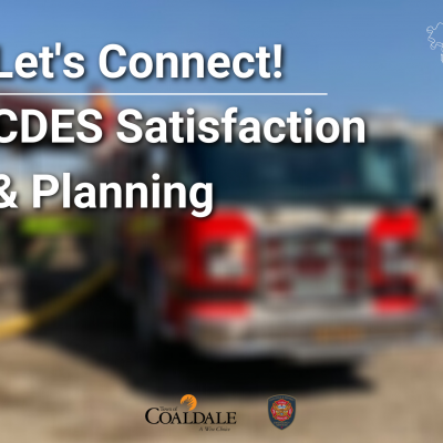 Let's Connect Coaldale & District Satisfaction and Planning (text) with blurred fire truck background