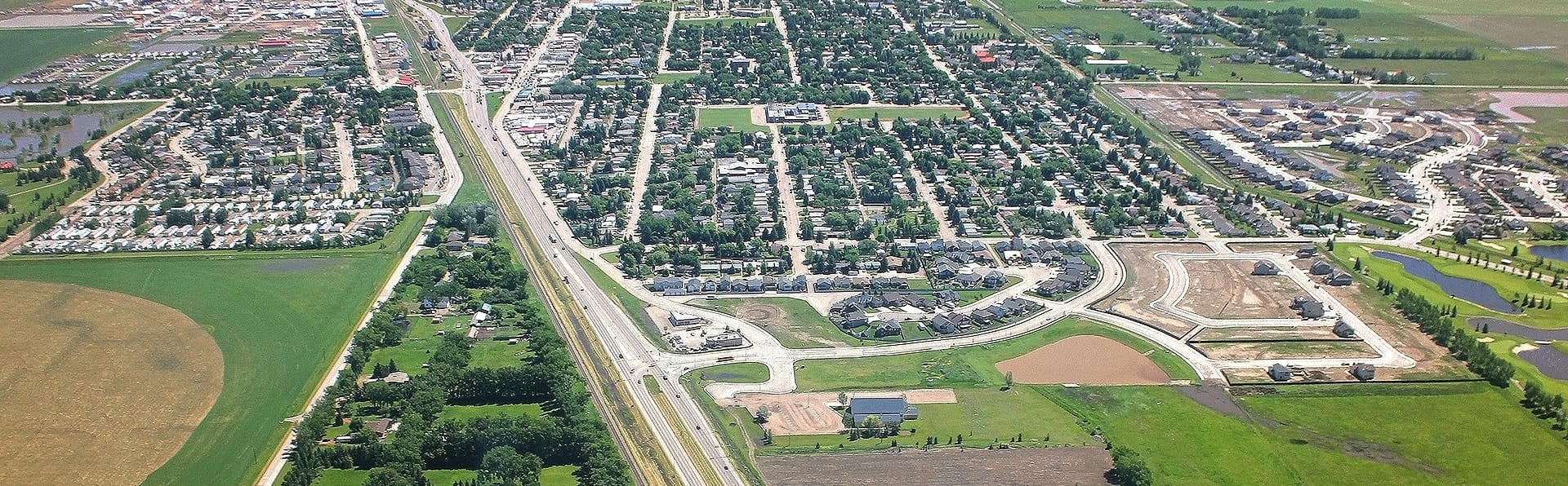 Aerial view of heading east into Coaldale.